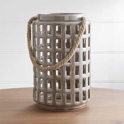 "Peek 14.75"" Dark Grey Ceramic Lantern - Crate and Barrel"