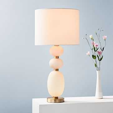 Lilah Table Lamp, Large, White Linen, Blush - West Elm