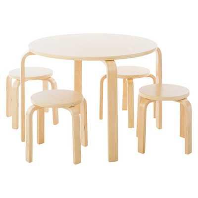 5 Piece Kids Table and Stools Set - Natural - Guidecraft - Target