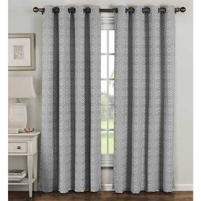 Window Elements Semi-Opaque Greek Key Cotton Blend Extra Wide 96 in. L Grommet Curtain Panel Pair, Grey (Set of 2), Gray - Home Depot