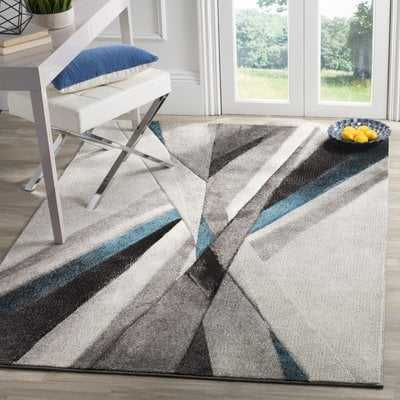 Anne Abstract Gray/Teal Area Rug - Wayfair