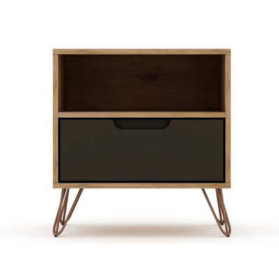 Luxor Intrepid 1.0 1-Drawer Nature and Textured Grey Mid-Century Modern Nightstand - Home Depot