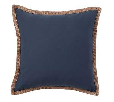 """Synthetic Trim Indoor/Outdoor Pillow, 20"""", Ink Blue - Pottery Barn"""