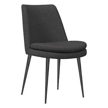 Finley Dining Chair, Low Back, Gunmetal Leg, Chenille Tweed, Slate, Gunmetal - West Elm