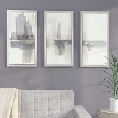 'Improvisation II Gray' Framed Painting Print Multi-Piece Image on Glass - Wayfair
