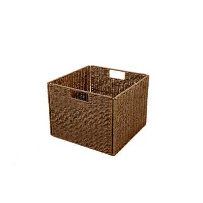 Foldable Paper Rope Wicker Storage Basket with Iron Wire Frame, Browns/Tans - Home Depot