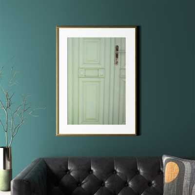 """Green Door with Gold Frame 26.5""""x36"""" - CB2"""