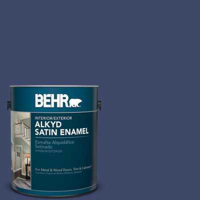 BEHR 1 gal. #PPU15-1 Nobility Blue Satin Enamel Alkyd Interior/Exterior Paint - Home Depot