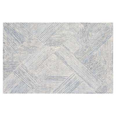 Resource Decor Vaughan Modern Classic Blue White Denim Solid Rug - 9' x 12' - Kathy Kuo Home