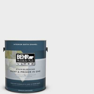BEHR Premium Plus Ultra 1 gal. #52 White Satin Enamel Interior Paint and Primer in One, Whites - Home Depot