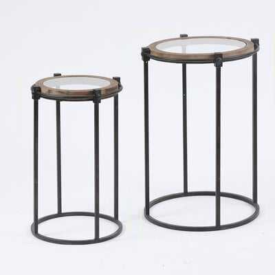 2-Piece Metal And Glass Round Accent Table - Wayfair