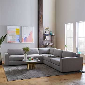 Urban Sectional Set 06: Left Arm 3 Seater Sofa, Corner, Right Arm 3 Seater Sofa, Poly, Chenille Tweed, Irongate, - West Elm