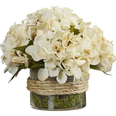 Hydrangea Floral Arrangement in Rope Glass Vase - Birch Lane