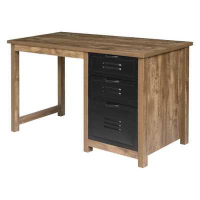 Norwood Range 3Drawer Writing Desk Wood And Black Metal Oak - OneSpace - Target