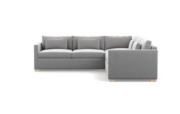 Charly Corner Sectional with Grey Ash Fabric, double down cushions, and Natural Oak legs - Interior Define