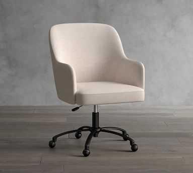 Dublin Upholstered Desk Chair, Bronze Swivel Base, Performance Heathered Tweed Ivory - Pottery Barn