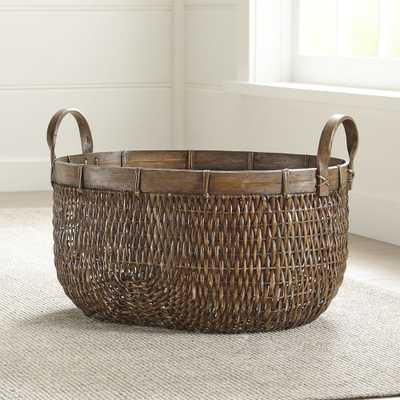 Halton Oval Rattan Low Basket - Crate and Barrel
