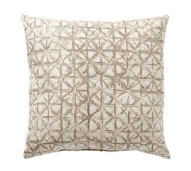 """Outdoor Sunbrella Brayden Tile Pillow, 22"""", Neutral - Pottery Barn"""