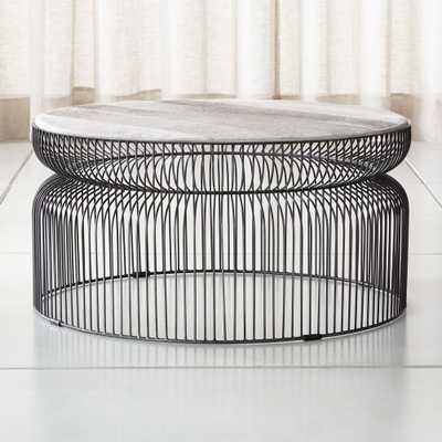 Spoke Hair On Hide Graphite Metal Coffee Table - Crate and Barrel