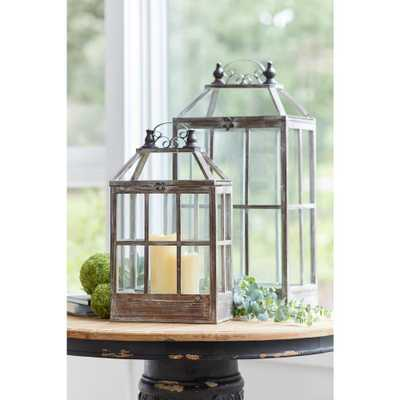 Melrose International Antique Brown Lantern (Set of 2), Browns/Tans - Home Depot