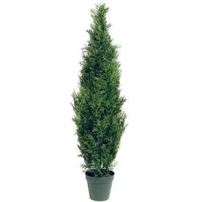 60 in. Artificial Arborvitae Tree in Dark Green Round Growers Pot - Home Depot