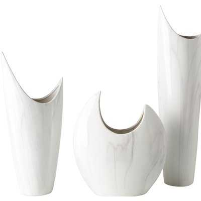 3 Piece White Ceramic Table Vase Set - Wayfair