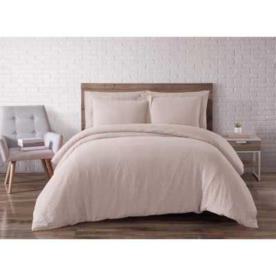 Linen Blush Queen Duvet Set - Home Depot