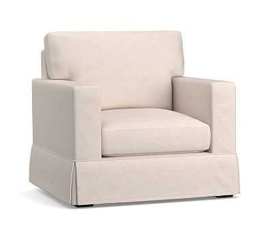 Sutton Slipcovered Armchair, Down Blend Cushions, Performance Heathered Tweed Ivory - Pottery Barn