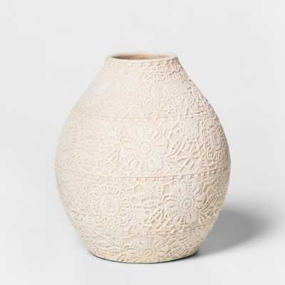 "6.7"" x 6"" Earthenware Lace Vase White - Threshold - Target"