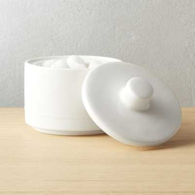 Chantilly White Sugar Bowl with Lid - CB2