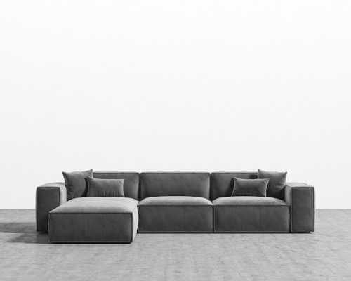 Porter Sectional - Glacier Grey Black Plastic Right-hand-facing - Rove Concepts