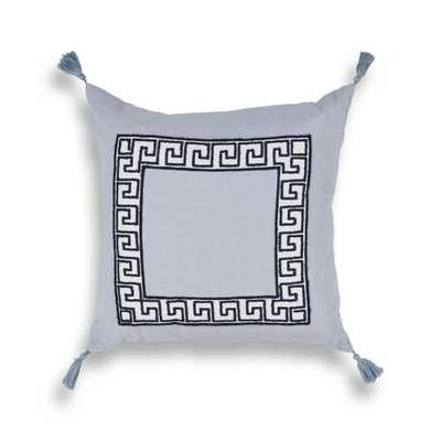 Smoke Greek Key 20 in. x 20 in. Square Throw Pillow, Grey - Home Depot
