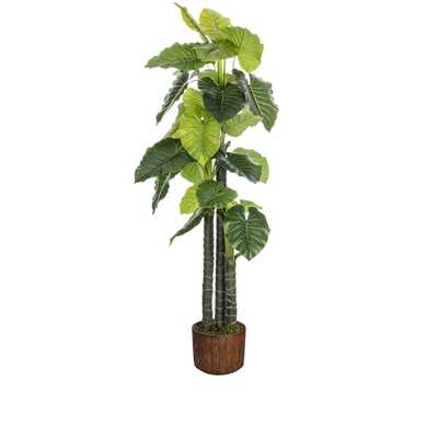 Laura Ashley 76.8 in. Tall Indoor-Outdoor Elephant Ear Plant Artificial Decorative Faux 12.8 in. Brown Wood-like Fiberstone Planter - Home Depot
