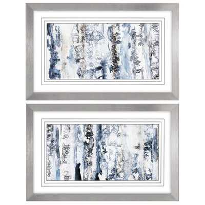 'Neutral Strata' 2 Piece Framed Watercolor Painting Print Set - Wayfair