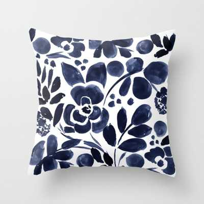 """Navy Floral Throw Pillow - Indoor Cover (20"""" x 20"""") with pillow insert by Crystalwalen - Society6"""