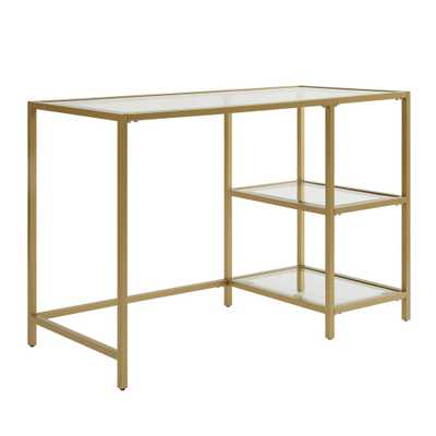 Marcello Gold Writing Desk with Shelves - Home Depot