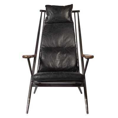 "17 Stories Dougherty 36.25"" W Genuine Leather Lounge Chair - Wayfair"