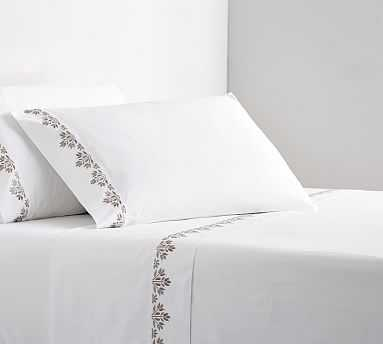 Blossom Embroidered Organic Sheet Set, Twin XL, Simply Taupe - Pottery Barn