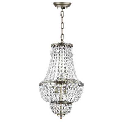 Safavieh Amoret 4-Light Brass/Clear Beaded Chandelier - Home Depot