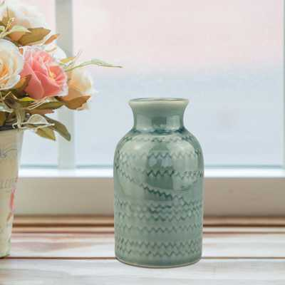4.75 in. Ceramic Small Vase with Detail in Worn Turquoise, Blue - Home Depot