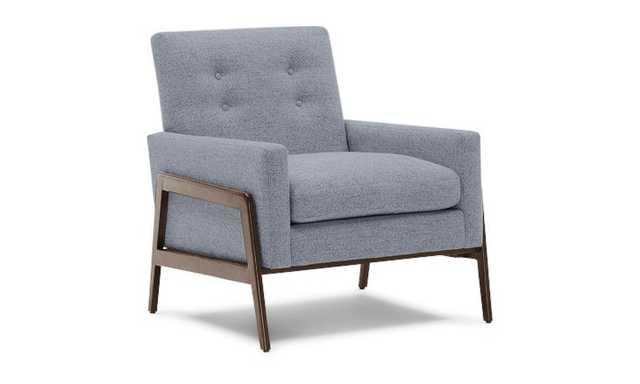 Gray Clyde Mid Century Modern Chair - Dawson Slate - Coffee Bean - Joybird
