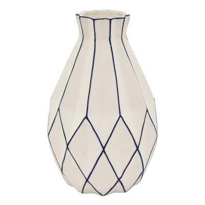 Three Hands 11 in. Porcelain White Vase - Home Depot