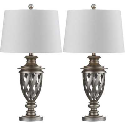 Safavieh Byron Urn 28.5 in. Antique Silver Table Lamp with White Shade (Set of 2) - Home Depot