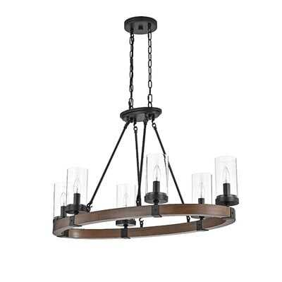 Devencove 6 - Light Shaded Wagon Wheel Chandelier with Wood Accents - Wayfair