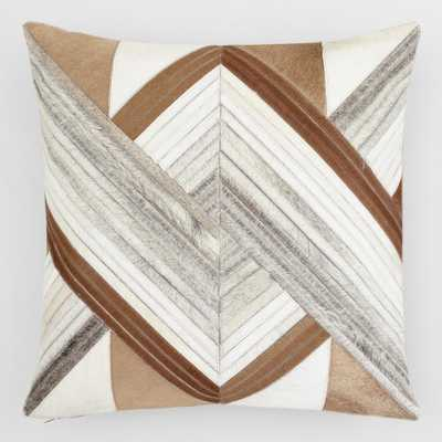 """Whirling Patchwork Leather Hide Throw Pillow: Brown - 20"""" Square by World Market - World Market/Cost Plus"""