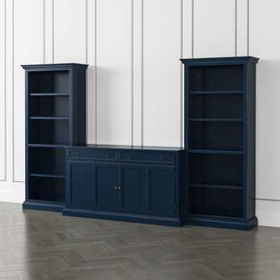 Cameo Indigo 3-Piece Entertainment Center with Open Bookcases - Crate and Barrel