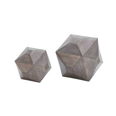 Multi-Faceted Geometric Iron Table Sculptures (Set of 2), Gray - Home Depot