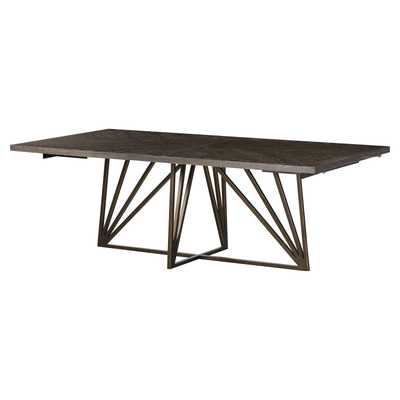 Resource Decor Emerson Modern Classic  Wood Top Gold Metal Base Dining Table - Kathy Kuo Home