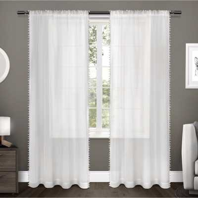 """Sheer Pom Pom Curtain Panels Pair White (54""""x96"""") Exclusive Home - Target"""