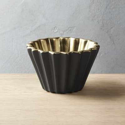 Crinkle Grey and Gold Bowl - CB2